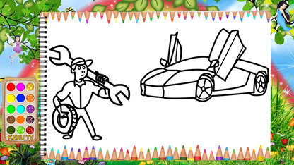 Glitter Fix Car Drawing & Coloring...